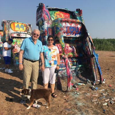 Cadillac Ranch, Dad and me. My father wasn't that impressed, since he has had a love of Caddie's since I was a girl.