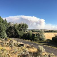 The smoke plume from the ridge above our RV Park