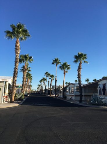 One of the Park Model streets at Voyager RV Resort in Tucson