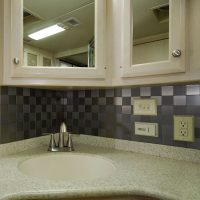 We recently replaced the backsplash in the bathroom.