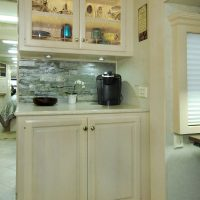 This hutch, with extra storage and a coffee bar was one of the selling points for us!