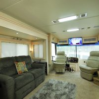 The motorhome is 40 feet. We replaced the old couch with our own La-Z-boy recliner.