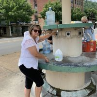 The public Water Fountain where you can get fresh unfiltered hot springs water - for free!