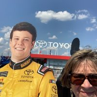 Cardboard cutout of one of the drivers - Erik Jones.